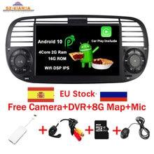 Auf Lager Android 10,0 Quad Core Auto Dvd media Player FÜR FIAT 500 Radio GPS DPS WIFI 3G Bluetooth lenkrad-steuerung