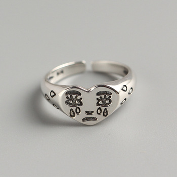 Creative Crying Face Tears Ring Jewelry 925 Silver Jewelry