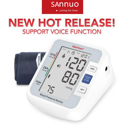 Sinocare Blood Pressure Monitor Tensiometer Upper Arm Automatic Digital BP Machine Pulse Heart Rate Monitor 3 Color LCD Display
