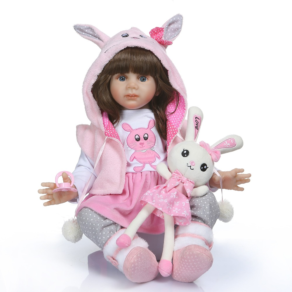 60cm soft Silicone Reborn Baby Doll Toy with Beautiful pink coat Like Real Vinyl Newborn Alive Bebe Babies Doll Girl Play Toy