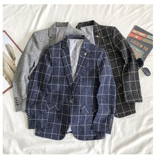 Male Suit Jacket Smart Plaid-Pattern Casual Full V-Neck for Men Gentleman Obrix Preppy-Style
