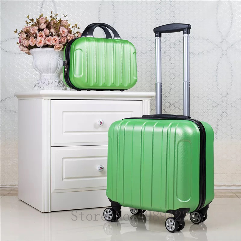 18 inch Travel suitcase set Cabin trolley luggage bag rolling luggage spinner wheels Female luggage set fashion Carry on bag