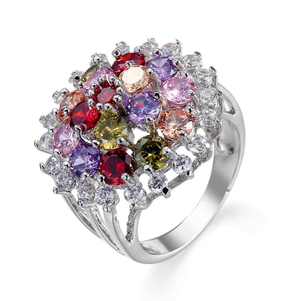 Femmes bijoux de luxe brillant coloré Micro Pave cristal pierre argent anneau évider charmant mariage Cocktail anneau de doigt à la mode