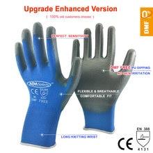 בטיחות מכונאי עבודה כפפות מצופה PU פאלם סרוג ניילון באיכות גבוהה אנטי להחליק לנשימה כפפת CE מוסמך EN388 4131X