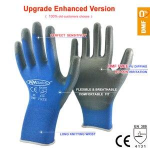 Image 1 - בטיחות מכונאי עבודה כפפות מצופה PU פאלם סרוג ניילון באיכות גבוהה אנטי להחליק לנשימה כפפת CE מוסמך EN388 4131X