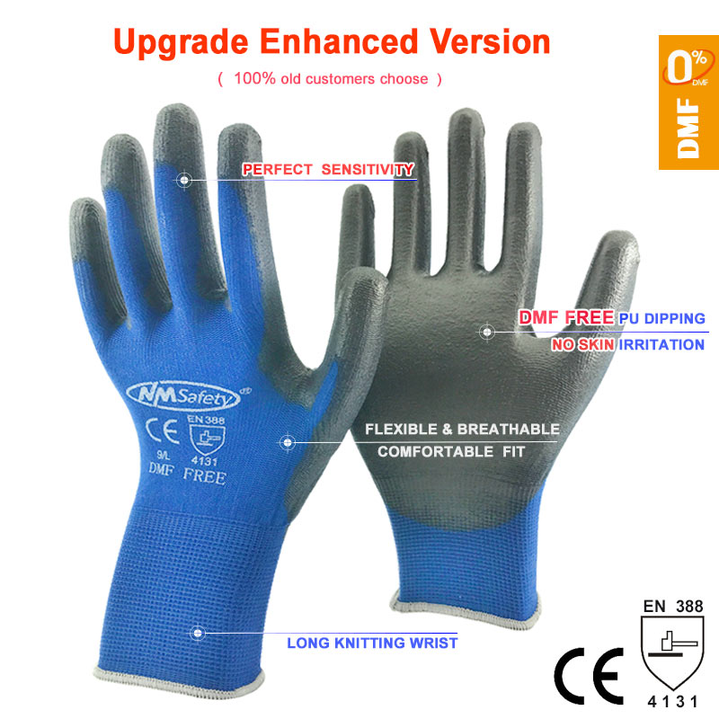 Safety Mechanic Work Gloves Coated PU Palm Knitted Nylon High Quality Anti Slip Breathable Glove CE Certificated EN388 4131X