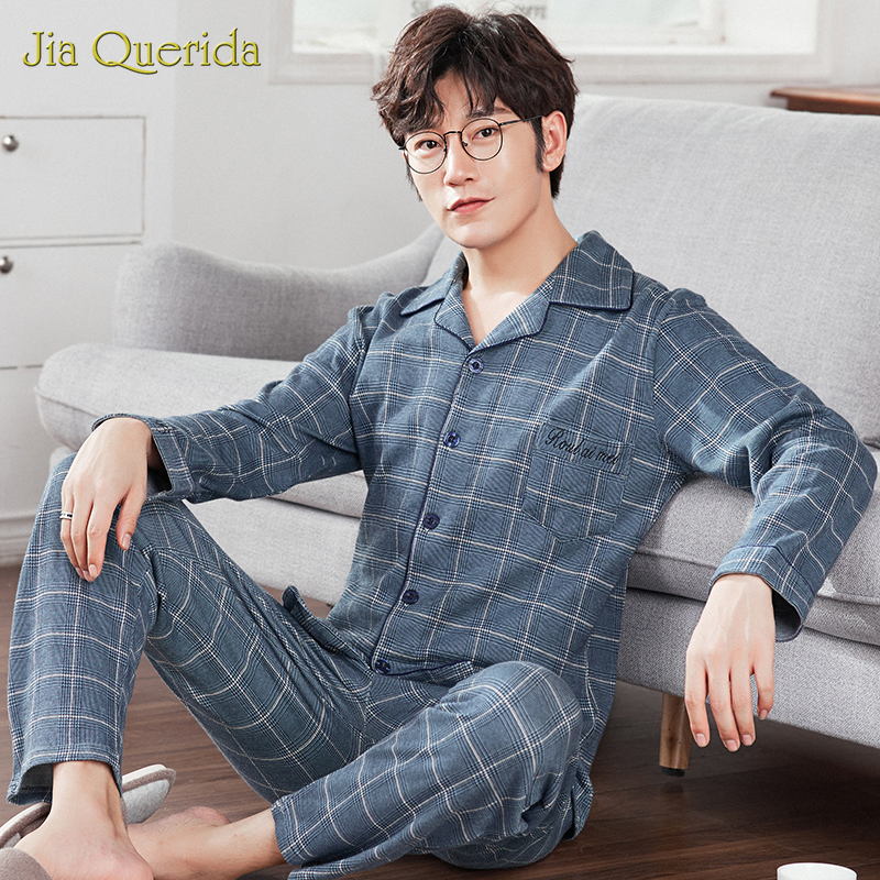 J&Q New Pajama Set Men Lapel Brand Quality Sleep Top&Bottoms Leisure Home Wear Plaid Pyjamas Plus Size Male Cardigan Sleepwear