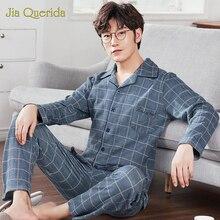 J & Q Yeni Pijama Seti Erkekler Yaka Marka Kalite Uyku Üst ve Dipleri Eğlence Ev Giyim Ekose Pijama Artı boyutu Erkek Hırka Pijama