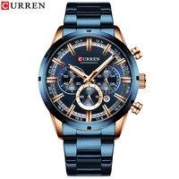PopularTrendy neue artikel 8355 herren uhr Wasserdicht quarz sechs pin kalender stahlband kommerziellen männlichen uhr-in Quarz-Uhren aus Uhren bei