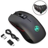 Acessórios do computador para computador portátil jogos mouse sem fio ergonômico presente usb recarregável luz colorida silencioso óptico
