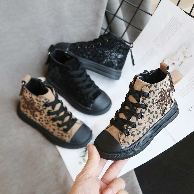 Canvas Children's Shoes Glitter Star Leopard Print Boys Sneakers Spring Autumn Casual Shoes For Girls Kids Flats Tenis Infanti