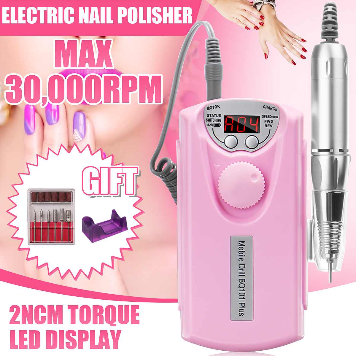 New Arrival 30000RPM Portable Electric Nail Drill Machine Rechargeable Cordless Manicure Pedicure Set For Nail Equipment