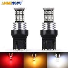 цена на ANMINGPU 2x Signal Lamp T20 Led 7440 7443 W21W Led Bulb W21/5W 45SMD Ba15s P21w Led 1156 Bulb Turn Signal Car Brake Light 12V
