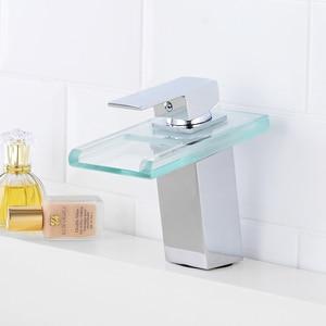 Image 5 - Bathroom Waterfall Led Basin Faucet Glass Waterfall Brass Made Basin Faucet Bathroom Mixer Tap Deck Mounted basin sink Mixer Tap