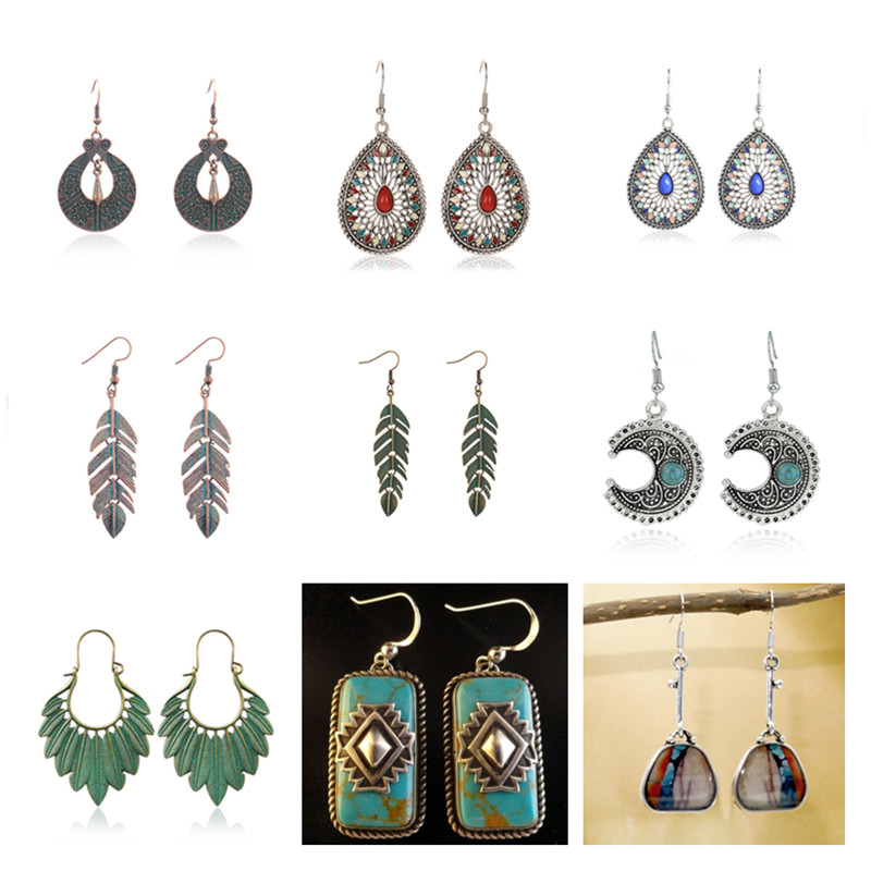 8Seasons Vintage Geometric Leaves Drop Earrings For Women Party Club Bohemian Carved Alloy Dangle Earrings Fashion Jewelry Gifts