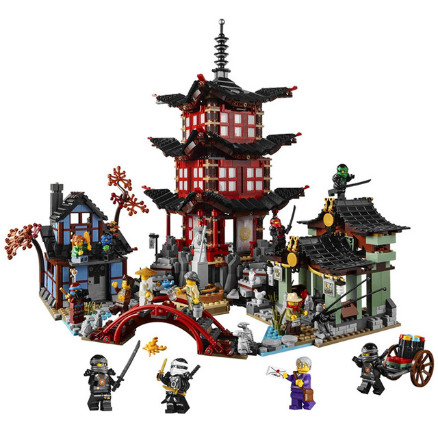 737pcs Diy Ninja Temple Of Airjitzu Ninjagoes Smaller Version Building Blocks Set Compatible With Lepining Toy For Kids Bricks 1