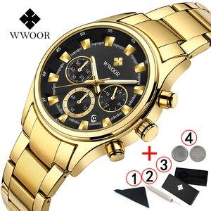 Image 2 - Мужские наручные часы WWOOR, роскошные золотые наручные часы с хронографом, 2019