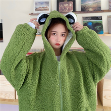 Hoody Sweatshirts Clothes Harajuku Cute Winter Fleece Girl Zip-Up for Ear Kawaii Teens