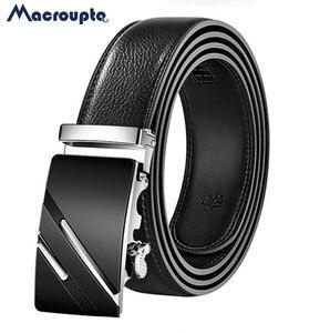 2020 leather Quality Automatic Buckle black Belts Cummerbunds cinturon hombre Men Belt Male Genuine Leather Strap Belts For Men