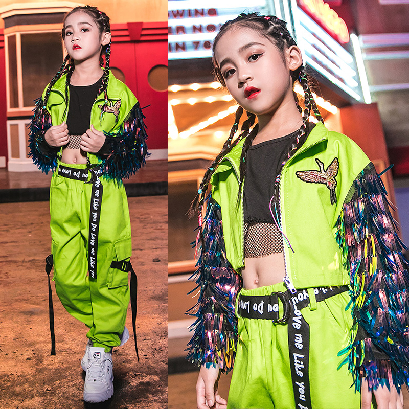 New Children Jazz Dance Costumes Girls Hip Hop Clothing Loose Fluorescent Tide Suit Street Dance Stage Show Dance Outfits DQS288
