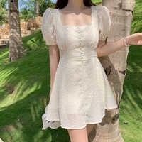 Chiffon Stickerei Kleid Frauen Mini Sommer eine Linie Vestido Ropa Mujer Corto Party Robe Boho Strand Festa Sonne Damen Kleider mulher