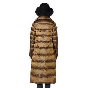 Image 5 - FTLZZ Ultra lekka biała kurtka puchowa damska zimowa dwustronna dopasowany długi płaszcz jednorzędowy ciepły parki śnieżna odzież wierzchnia