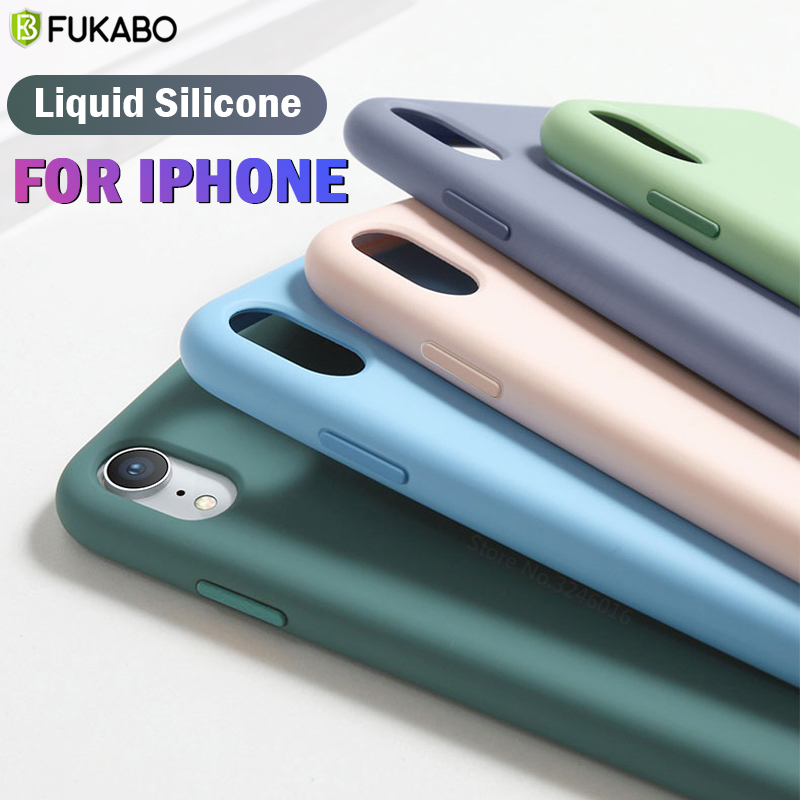Luxury <font><b>Original</b></font> Liquid Silicone <font><b>Case</b></font> For <font><b>iPhone</b></font> 11 Pro 7 8 Plus XS Max XR Shockproof Cover For <font><b>iphone</b></font> SE 5s 6s Plus Solid Color image