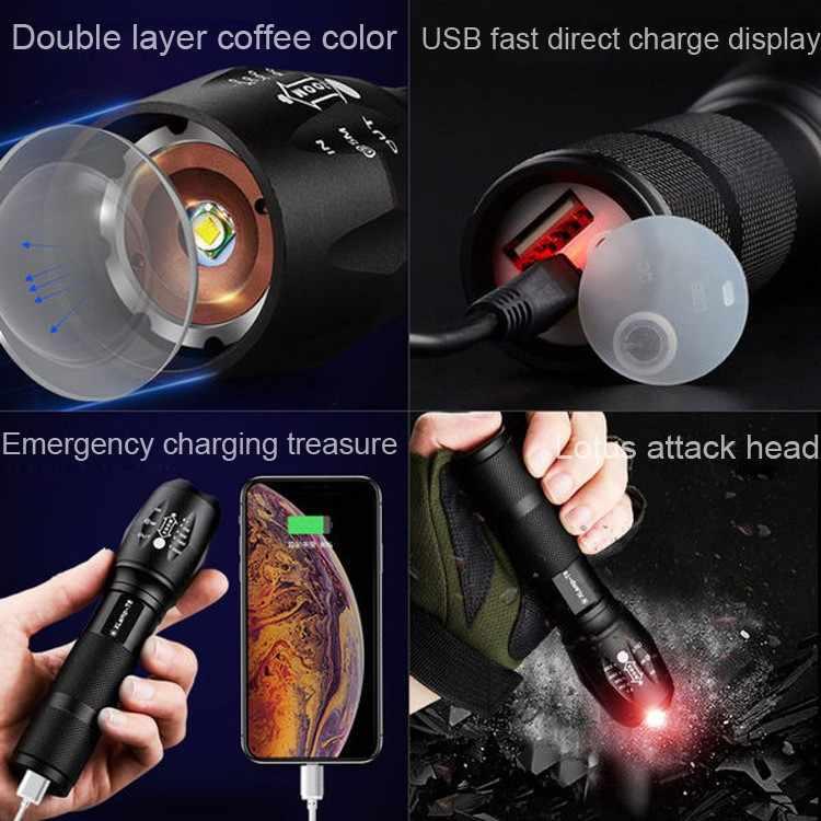 Ультра яркий светодиодный фонарик, фонарь с масштабированием, светильник-вспышка, USB Перезаряжаемый, ультра яркий водонепроницаемый светодиодный фонарь, велосипедный светильник