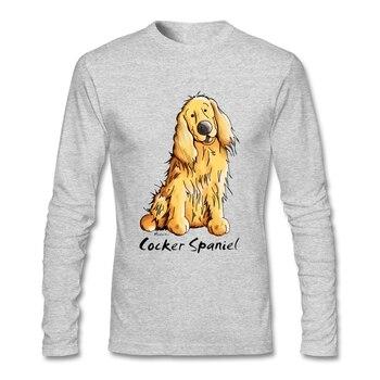 남성 셔츠 긴 소매 라운드 넥 코튼 재미 있은 코커 스패니얼 남성용 고품질 T 셔츠 인쇄 캐주얼 전체 o-넥