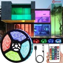Led luz tira luces usb infravermelho controle remoto 5v rgb 2835 flexível fita da lâmpada diodo para festa festival tv mesa quarto