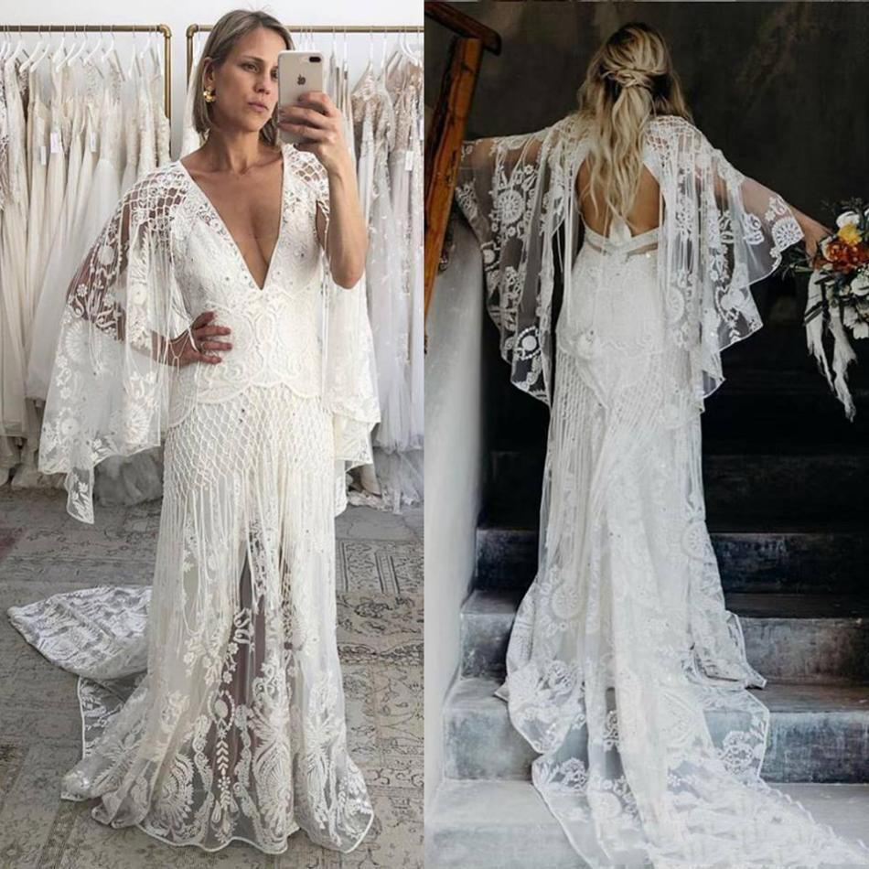2020 New Bohemian Beach Wedding Dresses V Neck Bell Long Sleeve Lace Open Backless Boho Bridal Gowns Wedding Dress