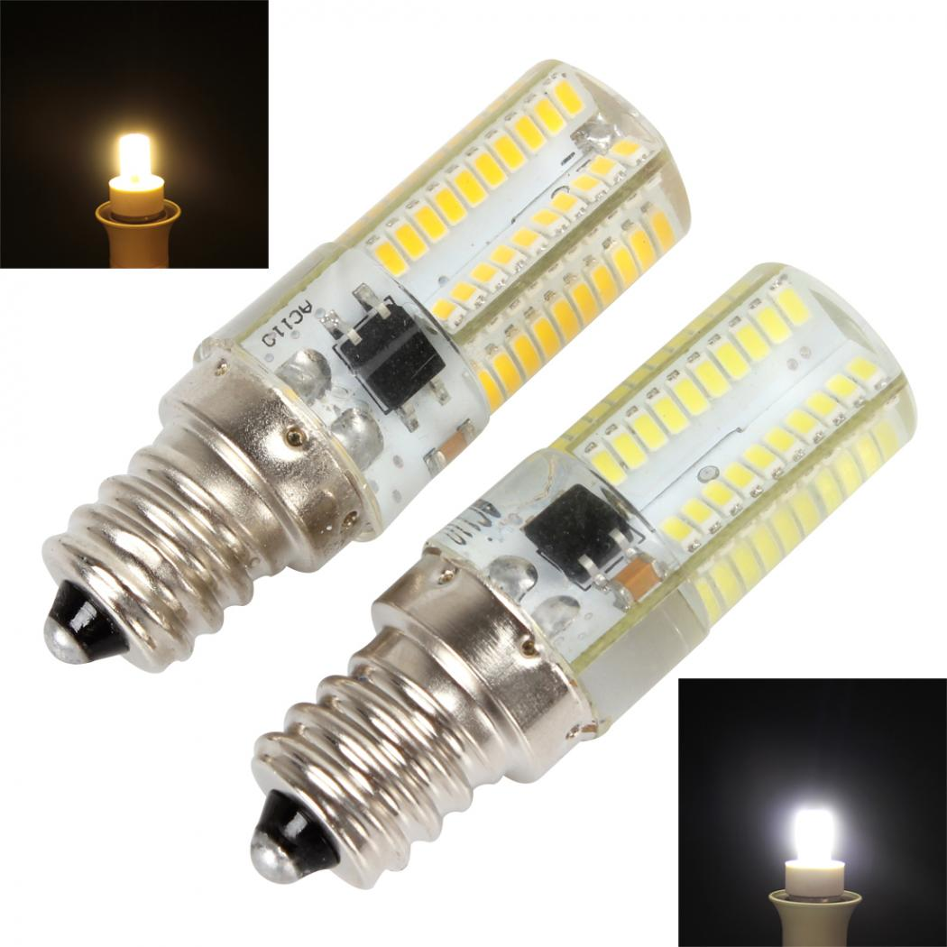 E12 Dimmable 80 LED 3014 SMD Light Silicone Crystal Bulb Lamp 110V / 220V 360 Beam Angle LED Spot Light Crystal Light Lamp
