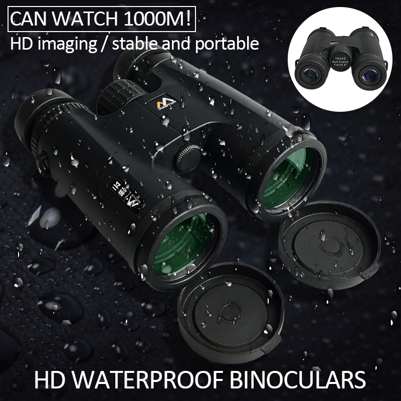10X42 dürbün su geçirmez profesyonel kamp avcılık teleskop yakınlaştırma Bak4 prizma optik dürbün ile kayış