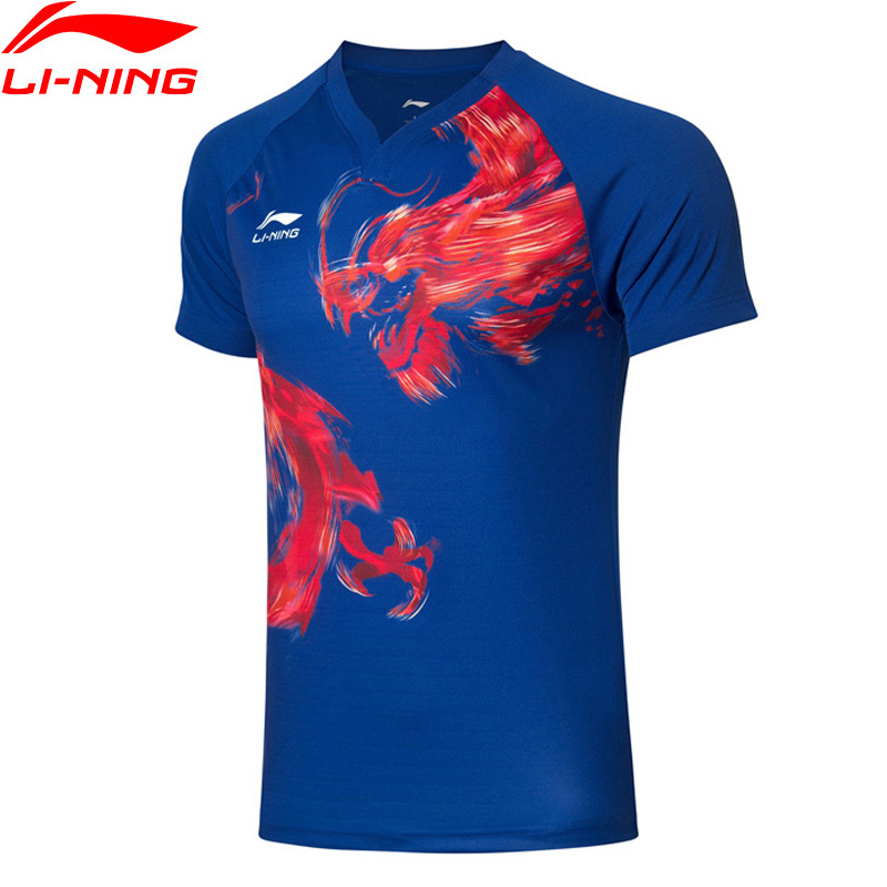 Li-Ning Men Table Tennis Competition T-Shirts Breathable AT DRY 89% Polyester 11% Spandex LiNing Sports Tops AAYP085 MTS3146