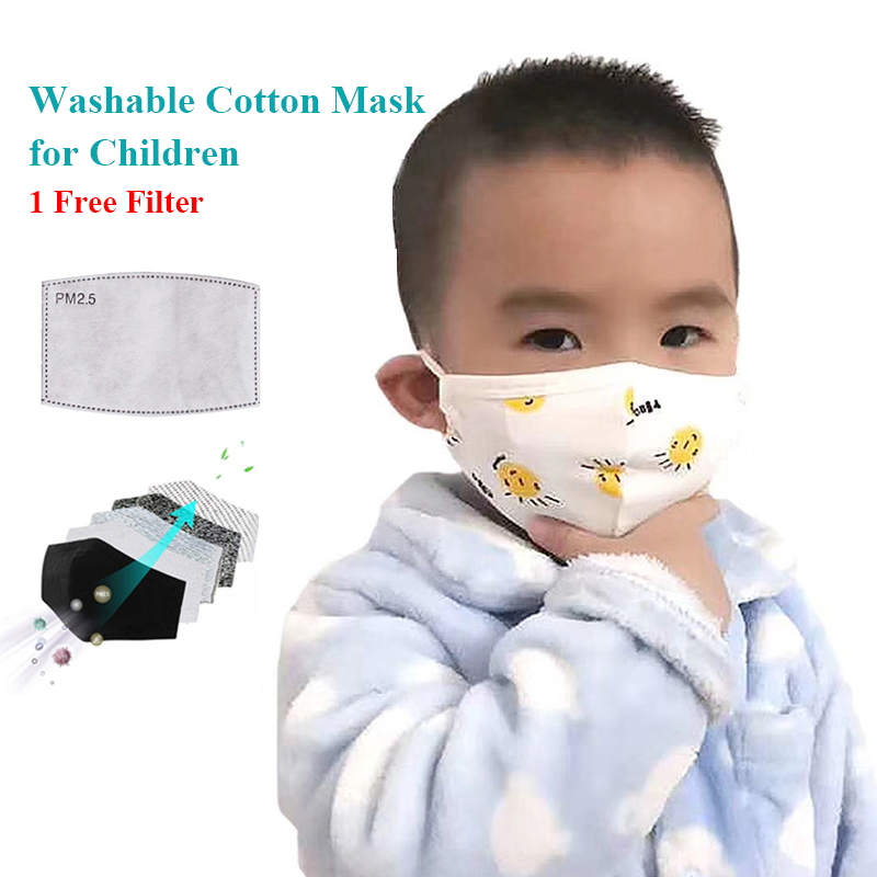 Children Cotton PM2.5 Mouth Mask Anti Dust Mask Activated Carbon Filter Windproof Bacteria Proof Flu Face Masks For Kids