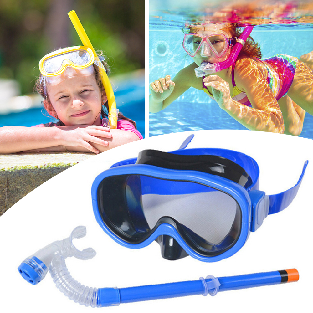 Children Diving Mask Snorkel Set Swimming Scuba Half Dry Tube Snorkeling Respiratory Mask Anti Fog Swim Glasses For Kids Unisex