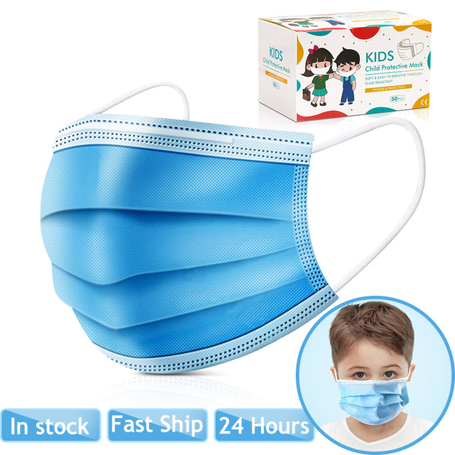 10pcs/50pcs High-quality disposable 3 layers Non-Woven safe mask filter kids mouth mask ear hanging breathable child face masks 2