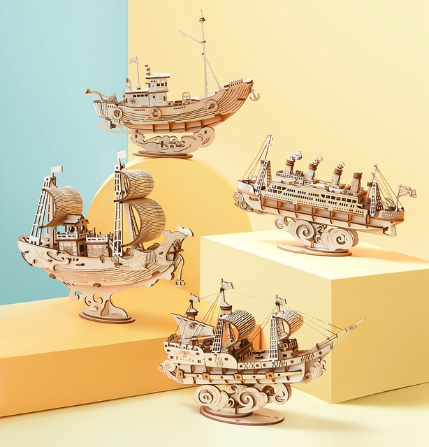Robotime New 4 Kinds DIY Vintage Sailing Ship 3D Wooden Puzzle Game Assembly Boat Toy Gift for Children Teens Adult TG 10