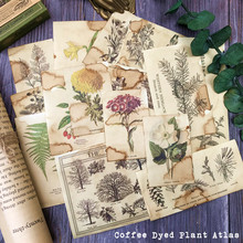 17Pcs Handmade Coffee Paper Illustrated Flower Plants Scrapbooking Material Paper Label Diary Stationery Album Vintage Decorate