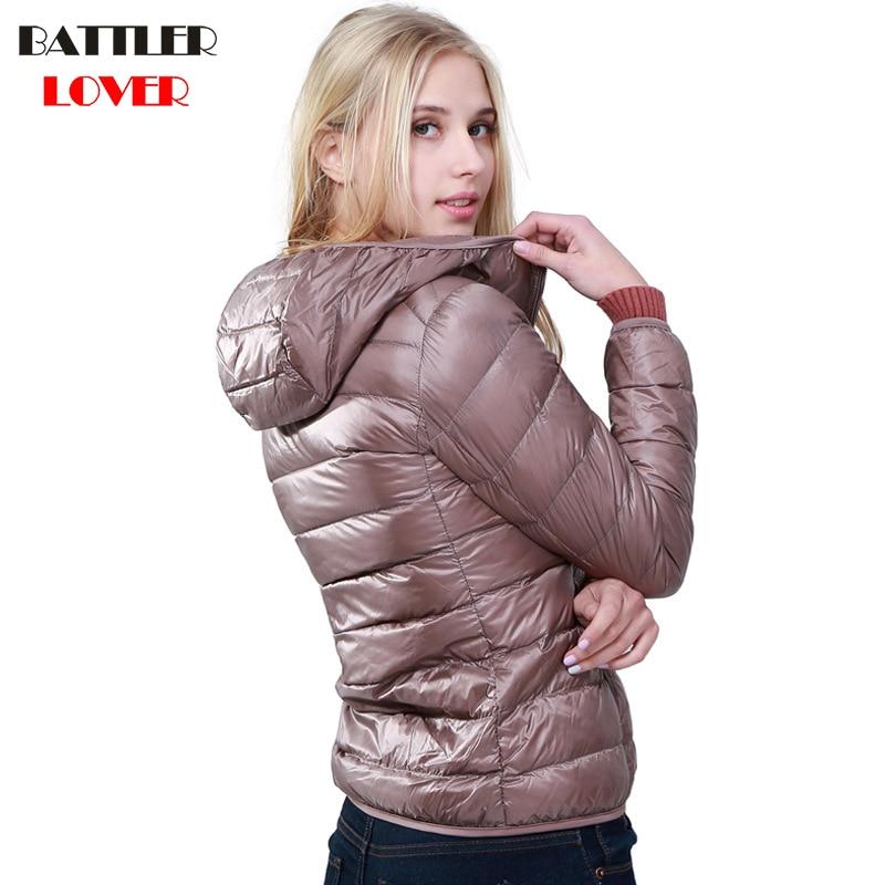 2019 Winter Women Ultra Light Down Jacket 90% Duck Down Hoody Jackets Long Sleeve Slim Coat Womens Parka Female Portabl Outwear