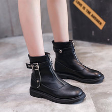 Women's PU Leather Ankle Boots Autumn Woman Buckle Zipper Short Boots Female Platform Shoes Ladies Fashion Rivets Boots New(China)