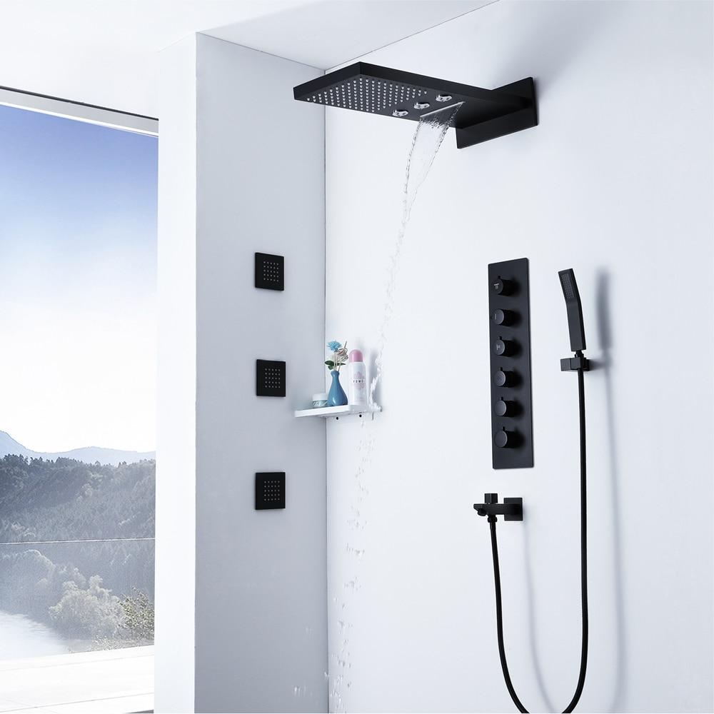 Grifos de ducha termostáticos negros lluvia cabezal de ducha cascada columna de agua baño ducha Spray chorro de latón