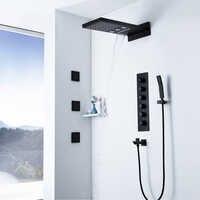 Schwarz Thermostat Dusche Armaturen Regen Duschkopf Wasserfall Wasser Spalte Bad Dusche Massage Spray Jets Messing