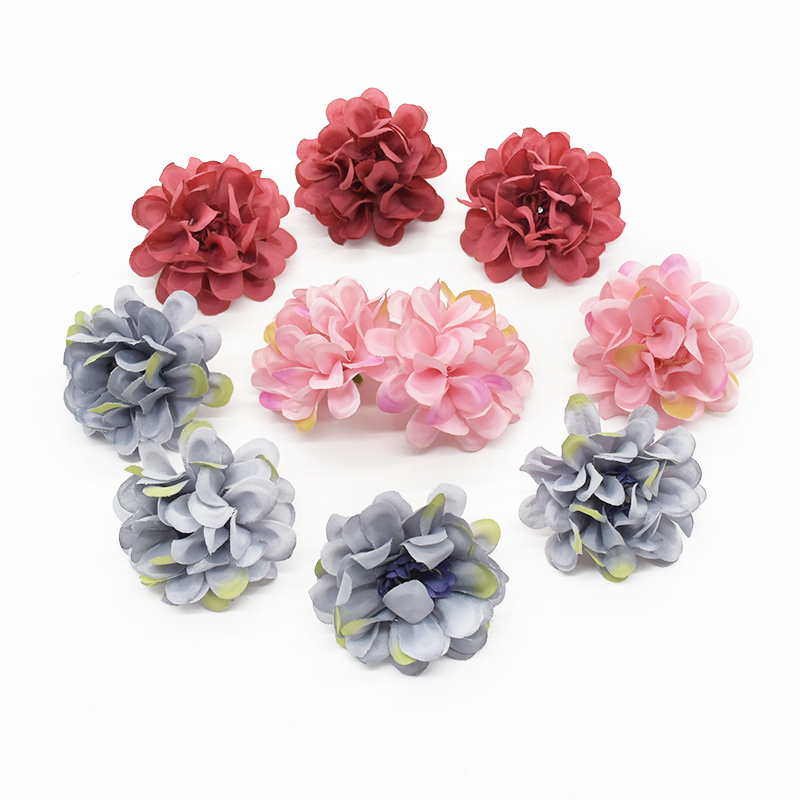 10pcs Artificial Hydrangea Heads Christmas decorations for home Candy box Gifts Headwear Brooch Autumn decoration Crafts Wedding