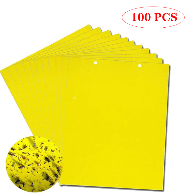 30-100pcs Strong Fly Traps Bugs Sticky Board Dual-Sided Catching Aphid Insect Pest Control Whitefly Thrip Leafminer Glue Sticker