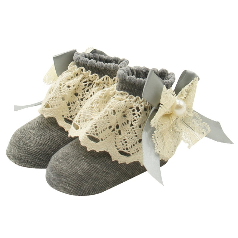 1 Pair Lace Floral Socks For Baby 0-12 Months Cute Infants Cotton Ankle Bowknot Comfortable Girls Princess Bowknots Socks