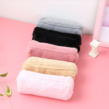 Cute Solid Color Plush Pencil Case bag For Girls Pencil Bag Stationery Pencil case Kawaii pencil case School student stationery secret garden defence fall sketch color pencil cases for girls bag will capacity stationery case beautiful fine arts wj hd24