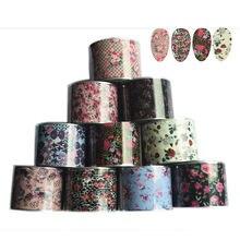 Набор красочных наклеек на 10 рулонов цветов пленка для ногтей