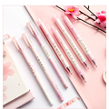 6 pièces/ensemble créatif cerisier fleurs Gel stylo 0.5mm encre noire rose signature écriture stylos étudiant école bureau fournitures de papeterie| |   -