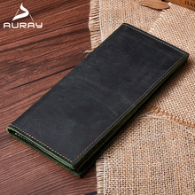 AURAY Men Man Genuine Leather Wallet Vintage Mens Wallets Luxury Brand Money Bag Coin Purse Men's Clutch Bag Card Holder Wallet